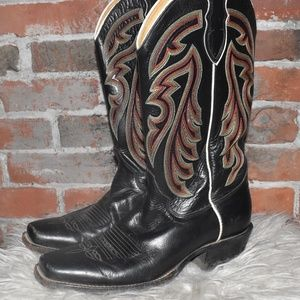 JUSTIN Black Leather Rainbow Stitch COWBOY Boots 8